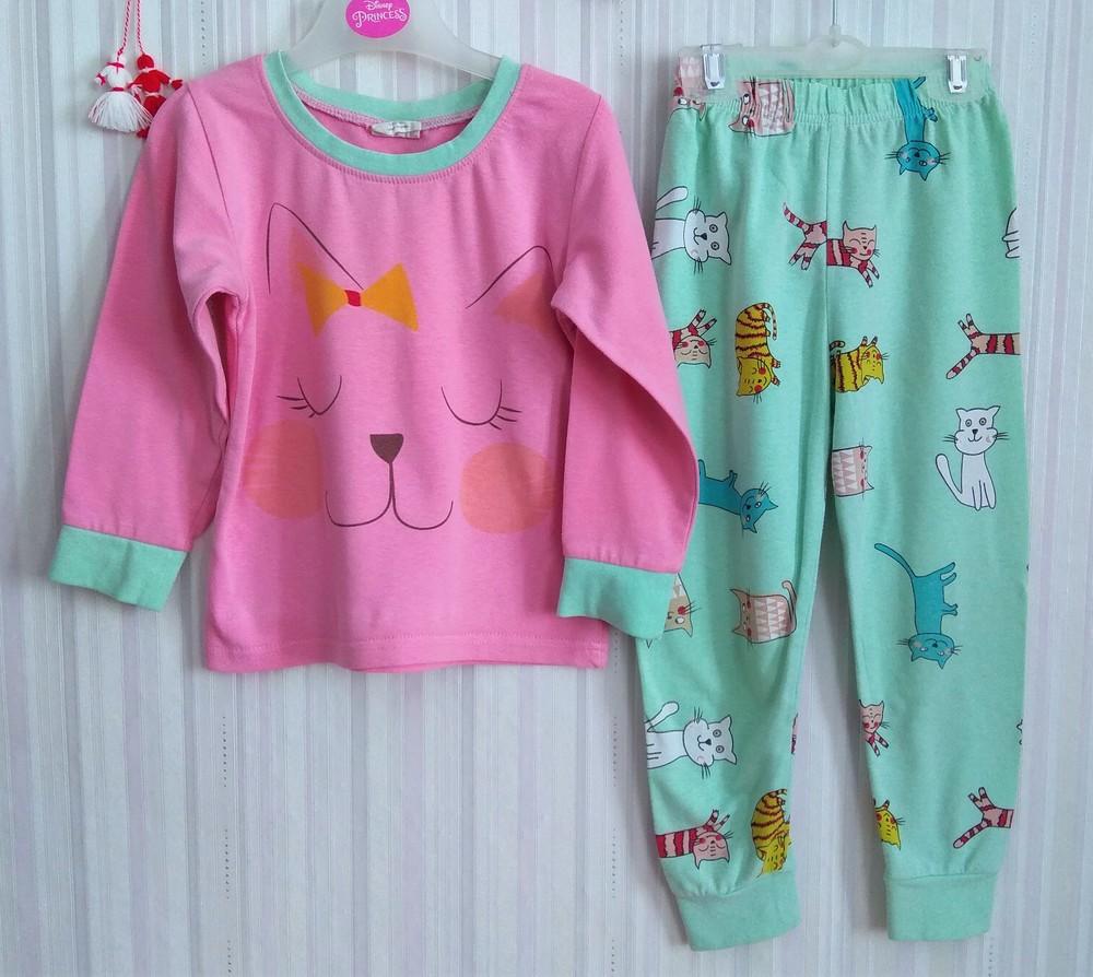 Зелено-розовая пижама с котиками р. 104-110 фото №1
