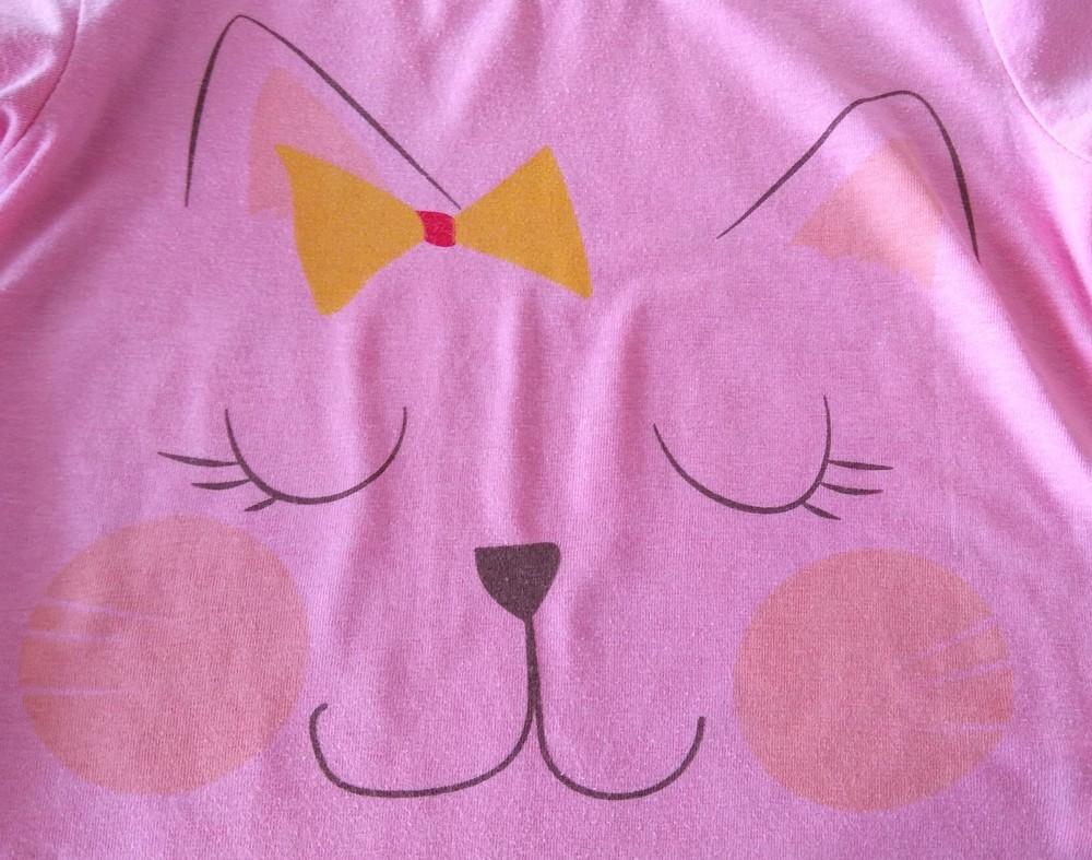 Зелено-розовая пижама с котиками р. 104-110 фото №2