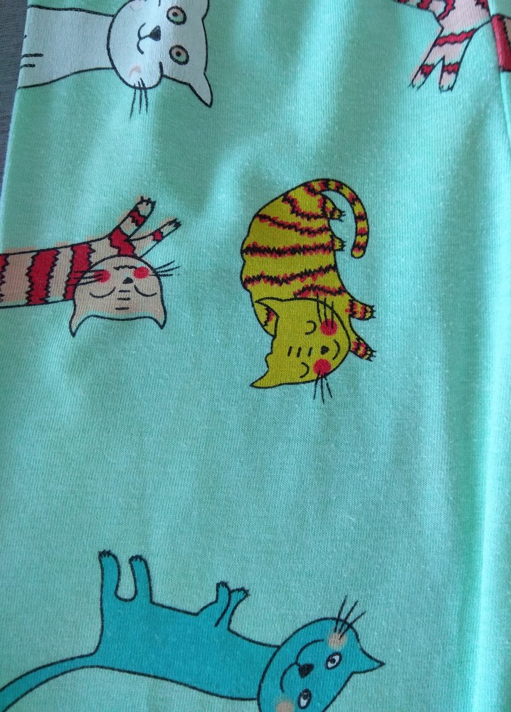 Зелено-розовая пижама с котиками р. 104-110 фото №3