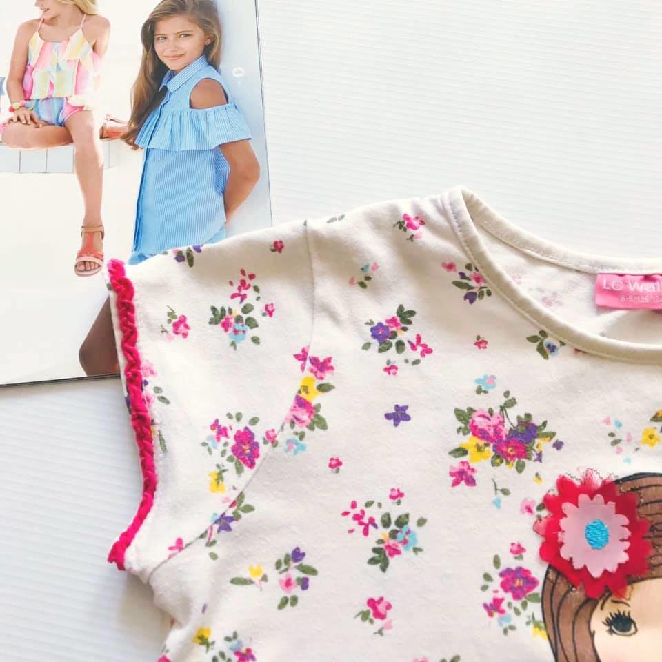Стильная футболка lc waikiki с нежным цветочным принтом на р128-134 фото №4